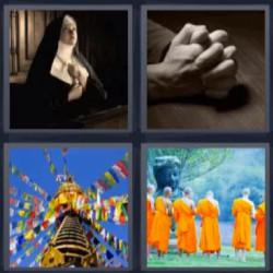 4 fotos 1 palabra monja rezando