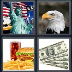 4 fotos 1 palabra estatua de la libertad. Águila…