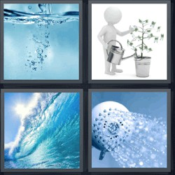4 fotos 1 palabra burbujas agua