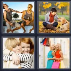 4 fotos 1 palabra amigas abrazadas