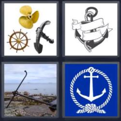 4 fotos 1 palabra timón anclas