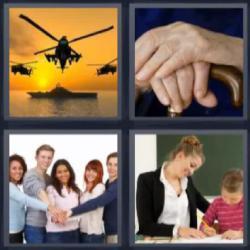 4 fotos 1 palabra helicópteros manos