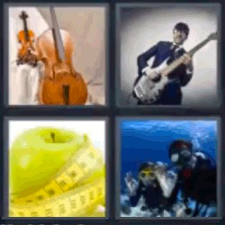 4 fotos 1 palabra violonchelo manzana
