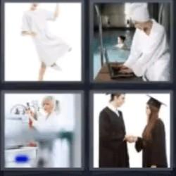 4 fotos 1 palabra mujer vestida de blanco