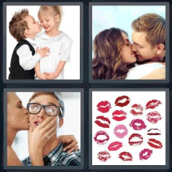 4 fotos 1 palabra pareja besando