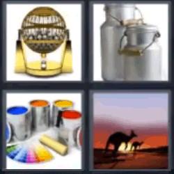 4 fotos 1 palabra canguro atardecer