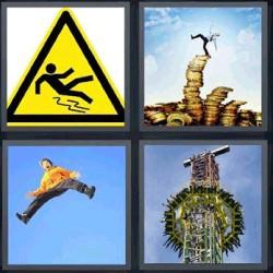 4 fotos 1 palabra señal amarilla