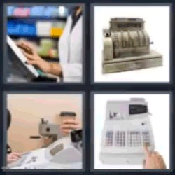 4 fotos 1 palabra caja registradora