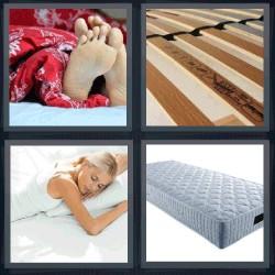 4 fotos 1 palabra colchón pies