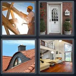 4 fotos 1 palabra puerta blanca techo