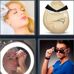 4 fotos 1 palabra depilación. Dibujo cara huevo…