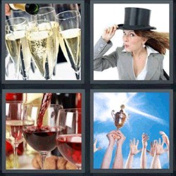 4 fotos 1 palabra champán vino