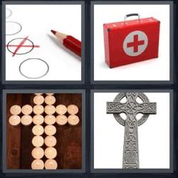 4 fotos 1 palabra circulo con cruz roja