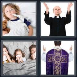 4 fotos 1 palabra niña con termómetro