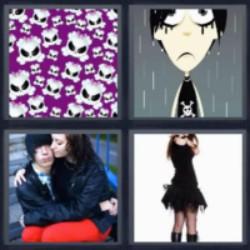 4 fotos 1 palabra calaveras pareja llorando