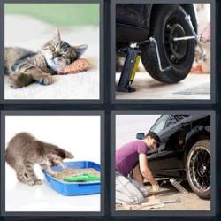 4 fotos 1 palabra cambiando llanta