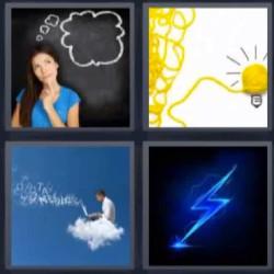 4 fotos 1 palabra mujer pensando rayo hombre en una nube