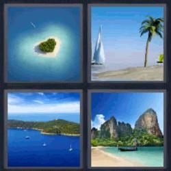 4 fotos 1 palabra playa barco