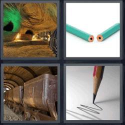 4 fotos 1 palabra lápiz mina
