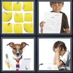 4 fotos 1 palabra post it niño perro