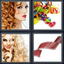 4 fotos 1 palabra mujer con pelo rizado o chino