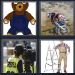 4 fotos 1 palabra oso moto escalera prensa