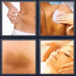 4 fotos 1 palabra masaje en la cara