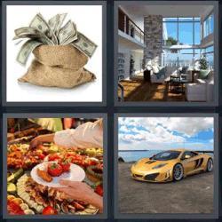 4 fotos una palabra saco de dinero