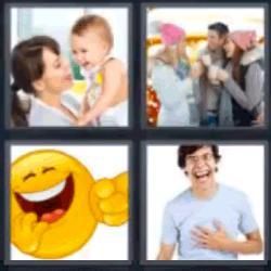 4 fotos 1 palabra madre con bebé riéndo