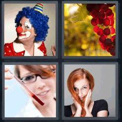 4 fotos 1 palabra payaso uvas