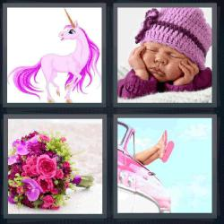 4 fotos 1 palabra unicornio bebé ramo de flores