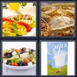 4 fotos 1 palabra leche trigo ensalada