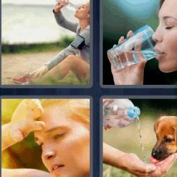 tres letras mujer tomando agua vaso botella