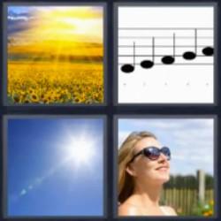 4 fotos 1 palabra amanecer girasoles notas