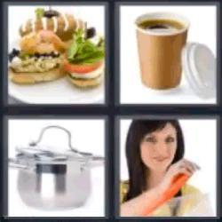 4 fotos 1 palabra café olla sandwich