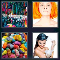 4 fotos 1 palabra mujer con pelo naranja