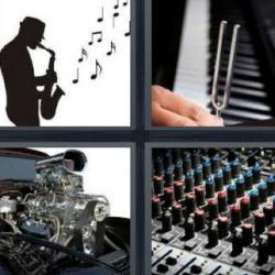 4 fotos 1 palabra piano saxofón