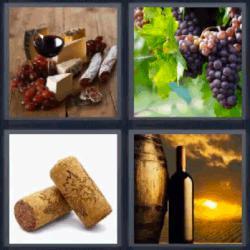 4 fotos 1 palabra uva botella