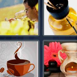 4 fotos 1 palabra vela café copa de vino aceite