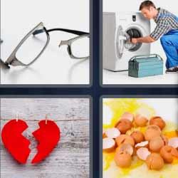 4 fotos 1 palabra corazón partido