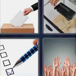 4 fotos 1 palabra manos levantadas