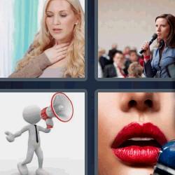 4 fotos 1 palabra mujer hablando labios