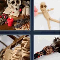 4 fotos 1 palabra calavera muñeco