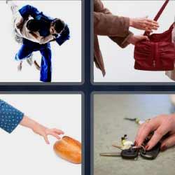 4 fotos 1 palabra robando bolso llaves