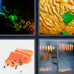 4 fotos 1 palabra salmón en lonchas