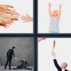 4 fotos 1 palabra manos niño levantando los brazos