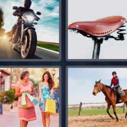 4 fotos 1 palabra moto caballo sillín de bicicleta