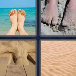 4 fotos 1 palabra arena de playa pies