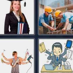 4 fotos 1 palabra graduada obreros