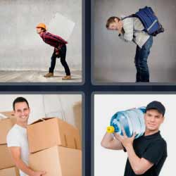 4 fotos 1 palabra cajas de cartón agua